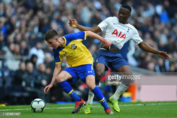 Tottenham U18 midfielder Jubril Okedina puts pressure on his man during the Under 18 Premier League match between Tottenham Hotspur and Southampton...
