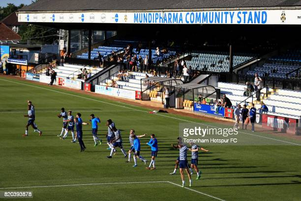 Tottenham U23 players warm up ahead of the pre season friendly match between Cambridge United and Tottenham U23 at Cambs Glass Stadium on July 21,...