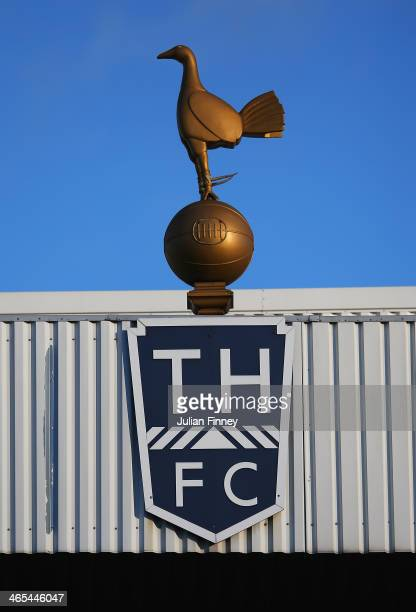 Tottenham's ball and cockerel crest is pictured during the Barclays Premier League match between Tottenham Hotspur and Crystal Palace at White Hart...