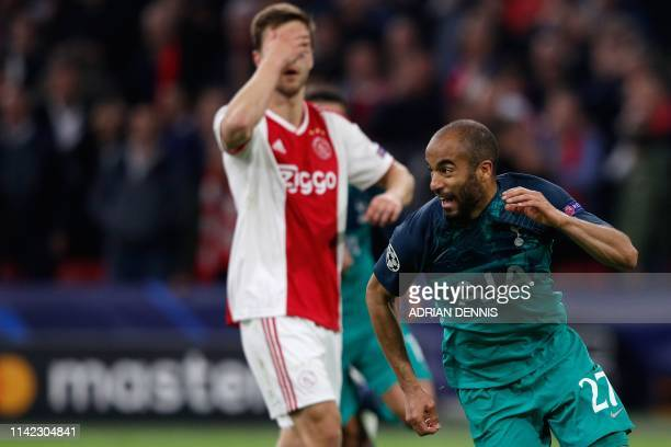 Tottenham's Brazilian forward Lucas celebrates after scoring a goal during the UEFA Champions League semifinal second leg football match between Ajax...