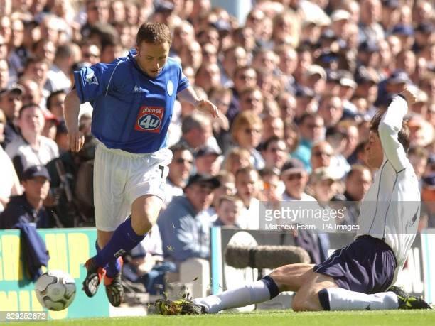 Tottenham's Darren Anderton tackles Birmingham City's Paul Devlin during their FA Barclaycard Premiership match at Tottenham's White Hart Lane in...