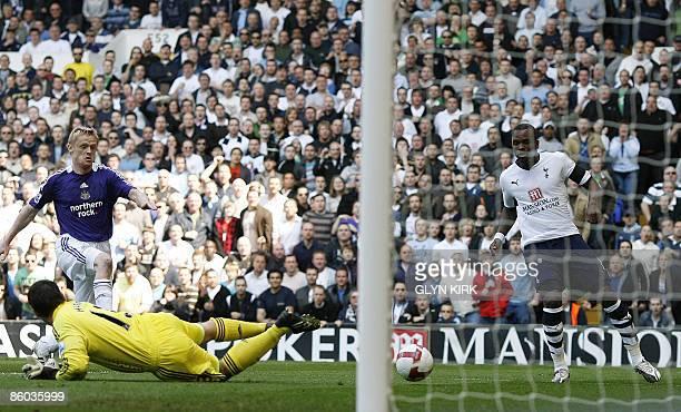 Tottenham's English striker Darren Bent scores a goal during their Premier League football match against Newcastle at White Hart Lane London England...