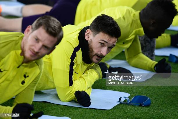 Tottenham's French goalkeeper Hugo Lloris takes part in a training session at Allianz Stadium in Turin on February 12 2018 on the eve of their UEFA...