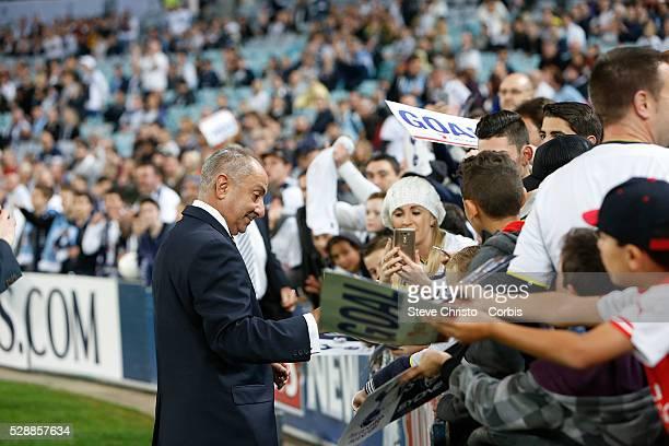 Tottenham's legend Osvaldo Ardiles signs autographs with fans before the match against Sydney FC at Stadium Australia Sydney Australia Saturday 30th...