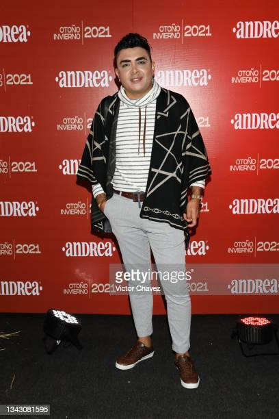 Totto Camacho attends the presentation of the Fall/Winter collection by Andrea at TV Azteca Ajusco on September 26, 2021 in Mexico City, Mexico.