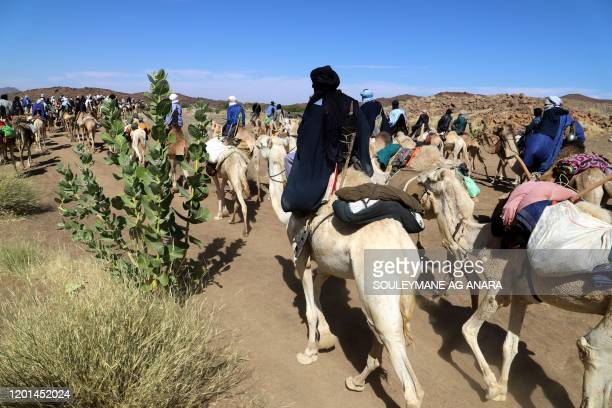Touareg caravan proceeding towards Iferouane, Niger, on February 14 en route to a ritual pilgrimage in the desert.