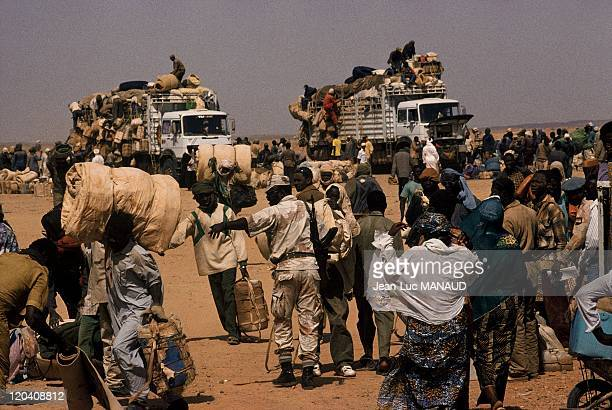 Toubou country in Agadez Niger Libyan trucks arriving at the customs station of Agadez