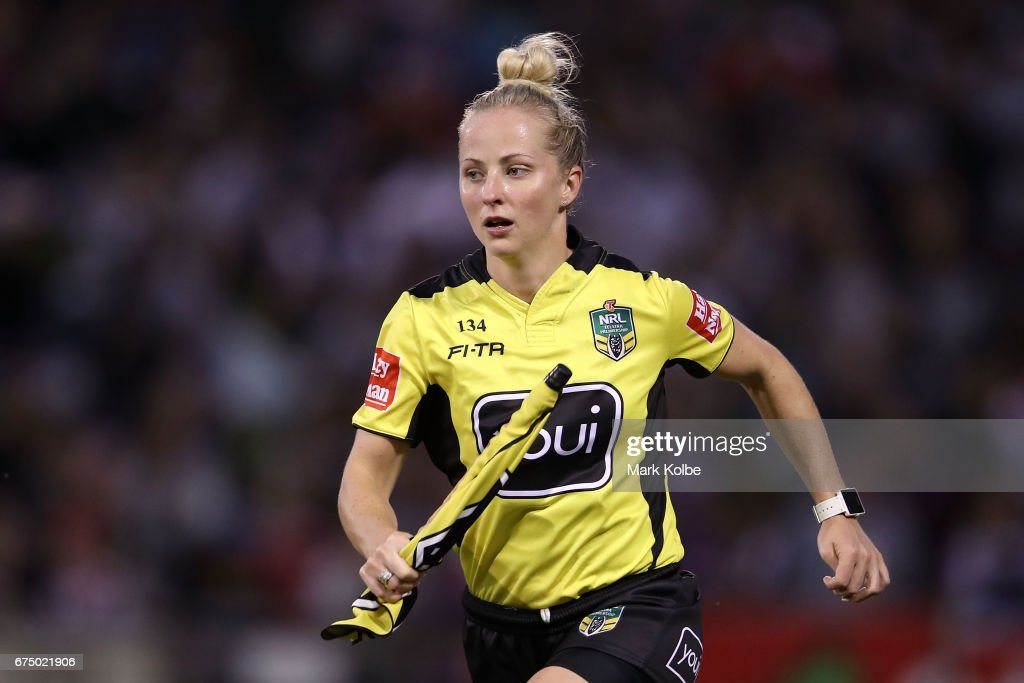 Touch judge Belinda Sleeman runs during the round nine NRL match between the St George Illawarra Dragons and the Melbourne Storm at WIN Stadium on April 30, 2017 in Wollongong, Australia.
