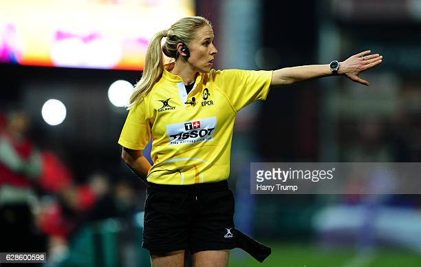 Touch Judge Joy Neville looks on during the European Rugby Challenge Cup match between Gloucester Rugby and La Rochelle at Kingsholm Stadium on...