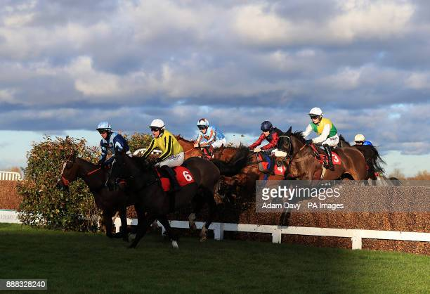 Touch Kick ridden by Harry Cobden on his way to winning the MS Amlin Insurance Novices' Limited Handicap Steeple Chase during day one of the Betfair...
