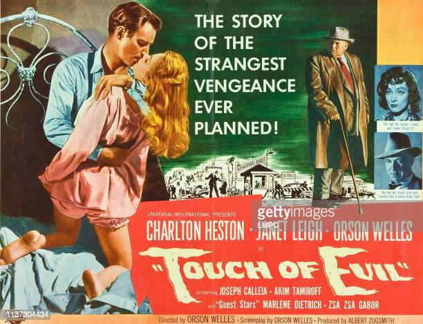 Touch Of Evil lobbycard Charlton Heston Janet Leigh Orson Welles Marlene Dietrich Joseph Calleia 1958