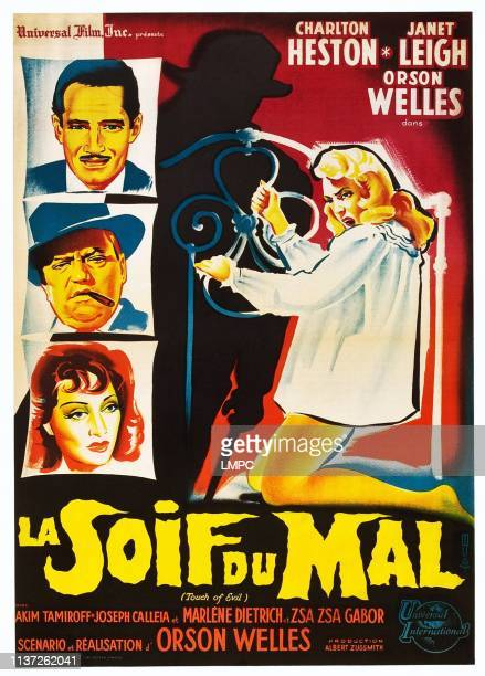 Touch Of Evil poster left from top Charlton Heston Orson Welles Marlene Dietrich right Janet Leigh on French poster art 1958