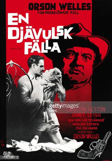 Touch Of Evil poster Swedish poster from left Charlton Heston Janet Leigh Orson Welles 1958