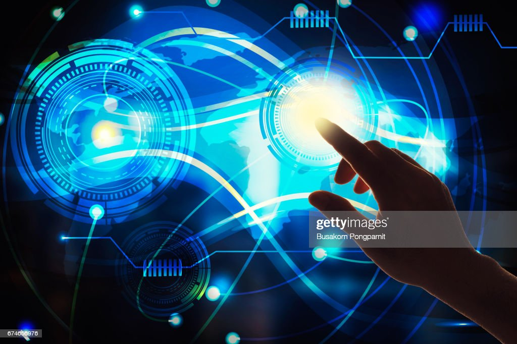 Touch the future,Interface technology, Global connection technologies . Mixed media : Stock Photo