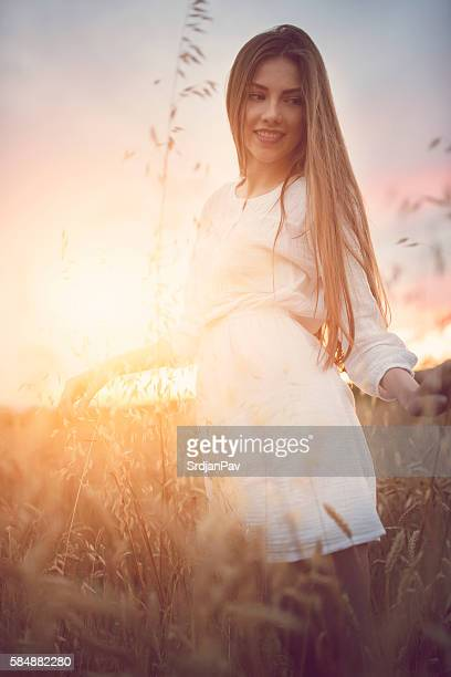 touch the nature - beautiful czech women stock photos and pictures