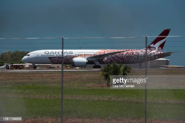 QF110 touches down at RAAF Base Darwin on October 23 2020 in Darwin Australia Eight repatriation flights have been arranged to help Australians stuck...
