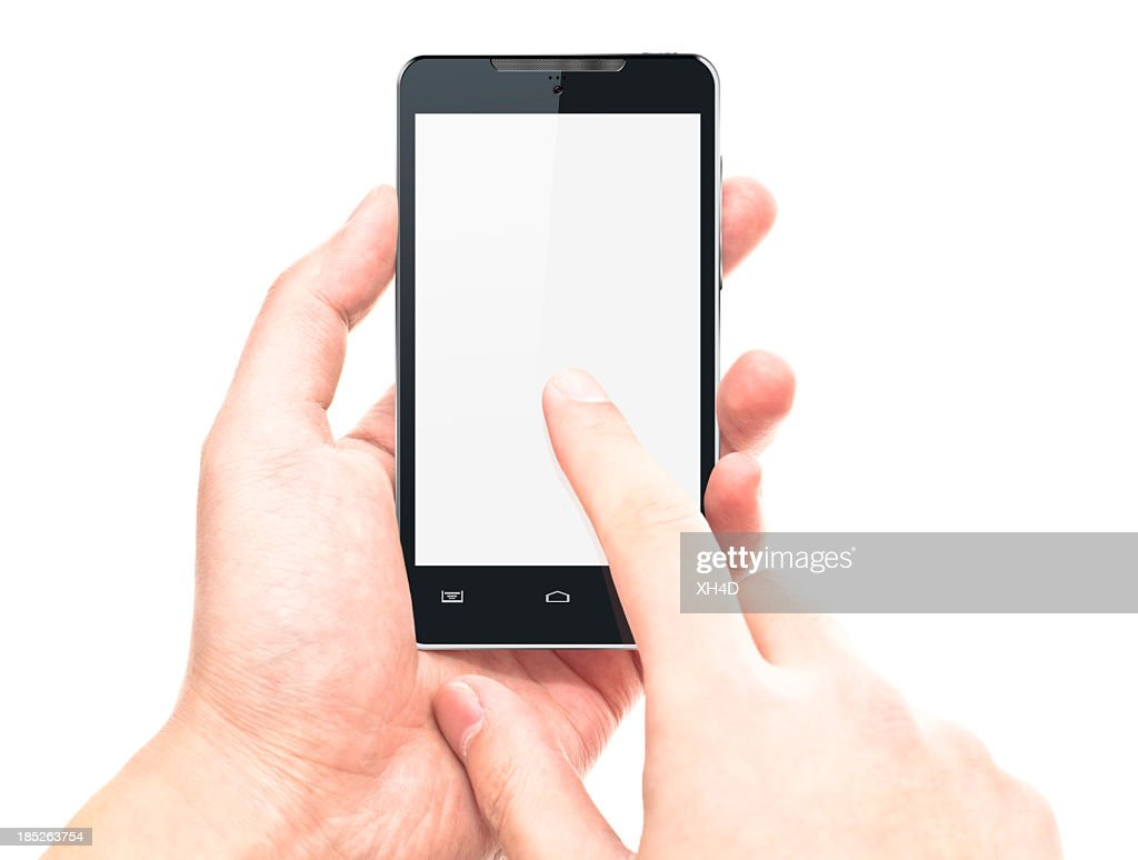 touching screen on smart phone : Stock Photo