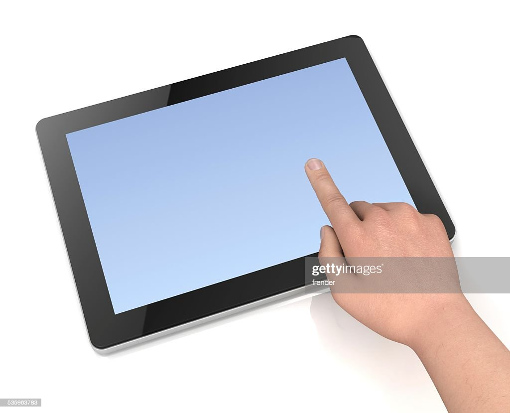 touching tablet : Stock Photo