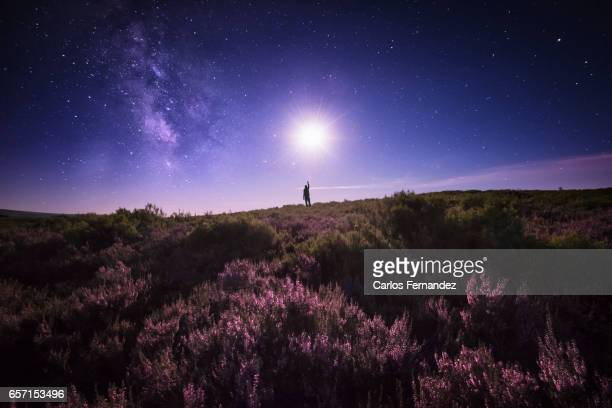touching the moon and the milky way - flower moon stock pictures, royalty-free photos & images