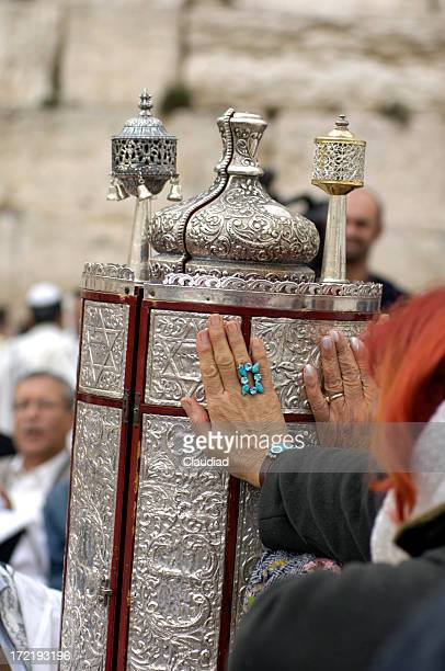 touching the torah - wailing wall stock pictures, royalty-free photos & images