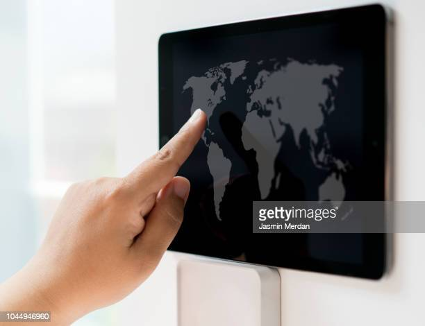 Touching world map on digital display