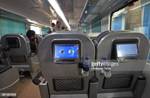 Touchscreen LCD screen inside new Anubhuti coach which has arrived at the Mumbai Central coach depot on December 12 2017 in Mumbai India The Anubhuti...