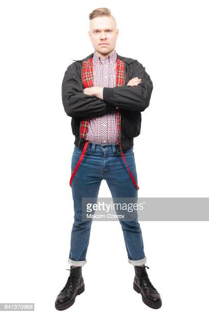 tough angry guy in checkered shirt - skinhead stock photos and pictures