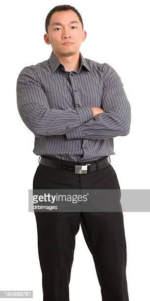 Tough Asian Man Crosses Arms