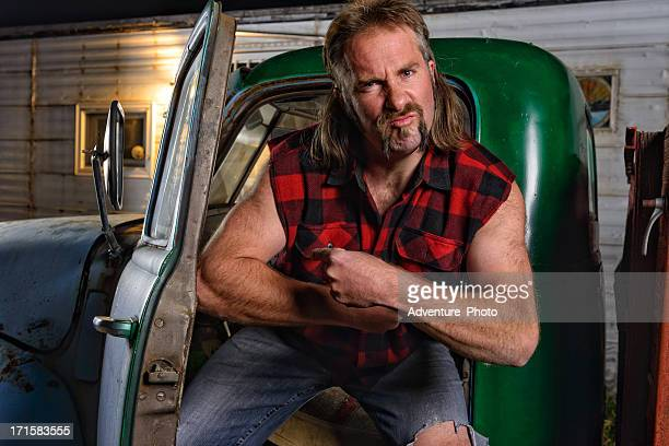 tough guy redneck with mullet - hillbilly stock pictures, royalty-free photos & images