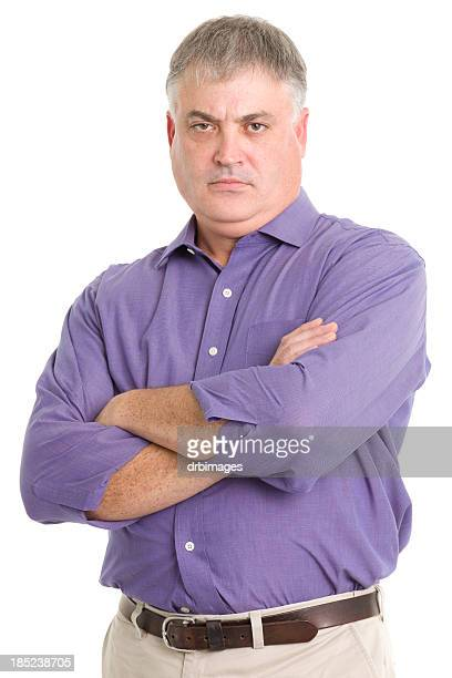 tough man crosses arms - chubby men stock photos and pictures
