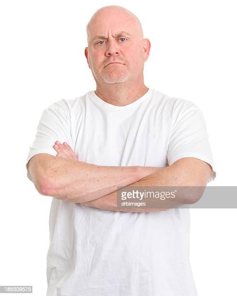 Tough Mature Man Crosses Arms