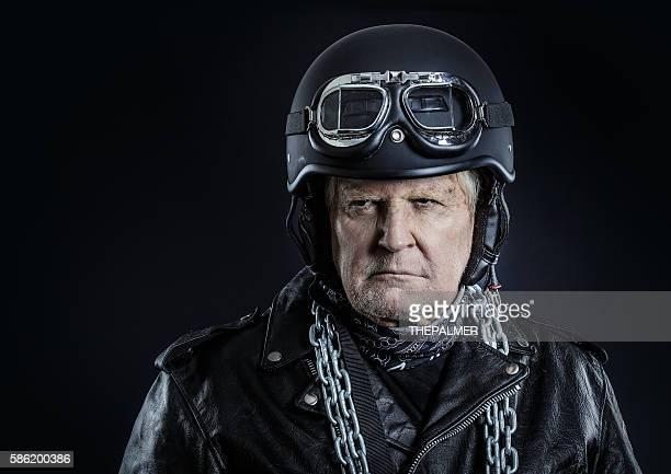 Tough old motorcycle rider