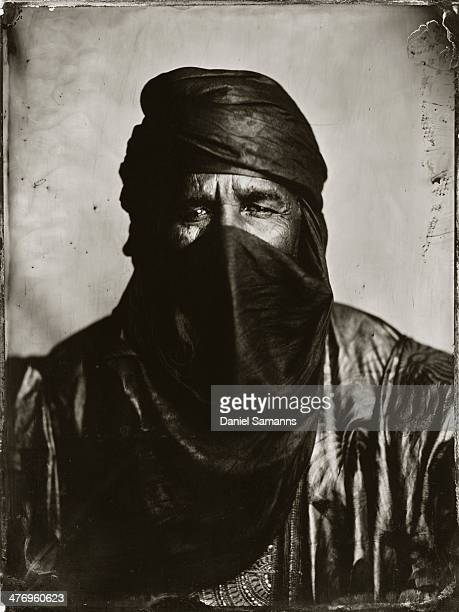 Touhami Ag Alhassane cofounder and musician of Tuareg Band 'Tinariwen' Grammy award winner 2011 poses for a Ambrotype Collodion Wet Plate Photo prior...