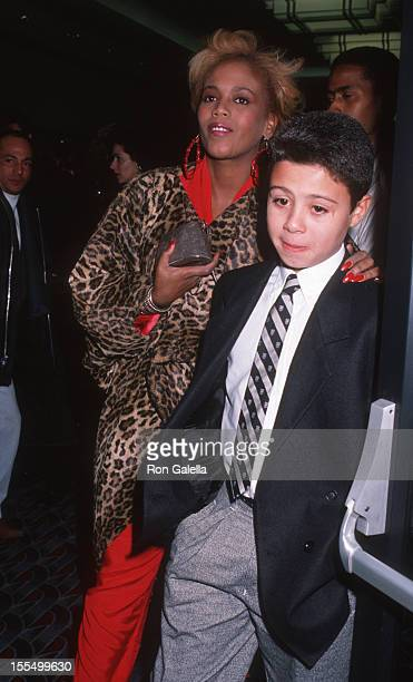 Toukie Smith and son Raphael De Niro attend the premiere of We're No Angels on December 13 1989 at Loew's Tower Theater in New York City