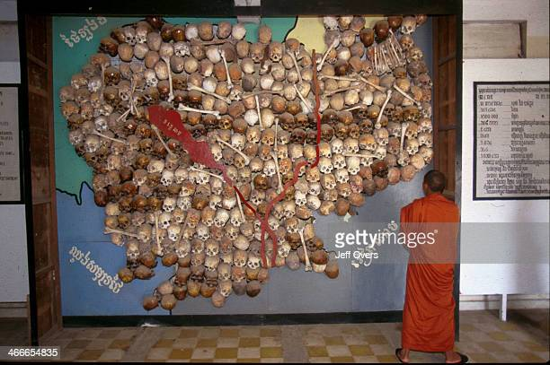 Toul Sleng Museum Map of Cambodia in skulls