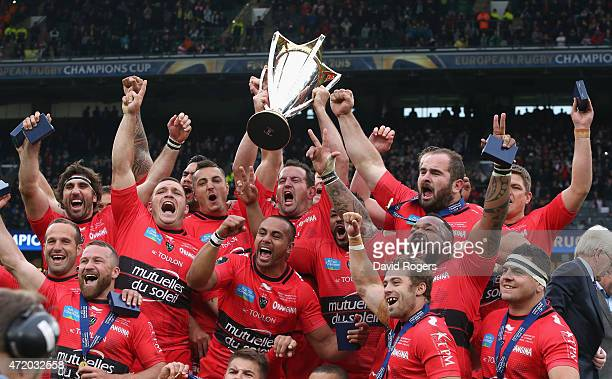 Toulon celebrate after their victory during the European Rugby Champions Cup Final between ASM Clermont Auvergne and RC Toulon at Twickenham Stadium...