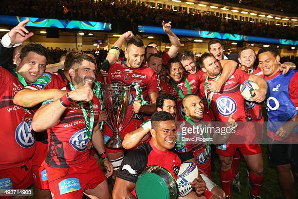 Toulon celebrate after their victory during the Heineken Cup Final between Toulon and Saracens at the Millennium Stadium on May 24 2014 in Cardiff...