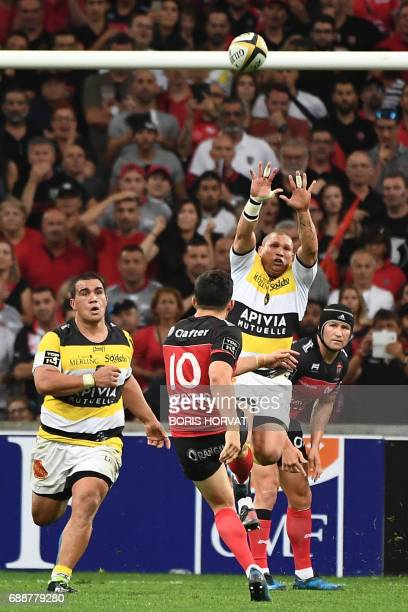 RC Toulon player Anthony Belleau kicks the ball during the French Top 14 rugby union match between RC Toulon and La Rochelle on May 26 2017 at the...