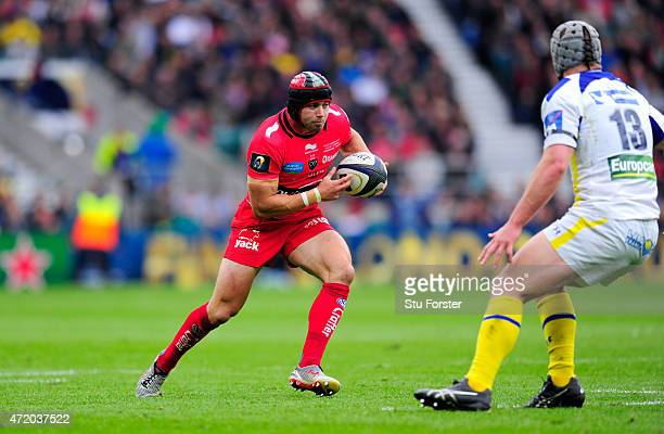 Toulon player Leigh Halfpenny runs at Jonathan Davies during the European Rugby Champions Cup Final between ASM Clermont Auvergne and RC Toulon at...