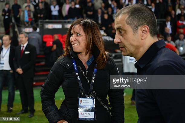 Toulon president Mourad Boudjellal and his wife Linda during the Rugby Top 14 League semi final match between RC Toulon and Montpellier on June 18...