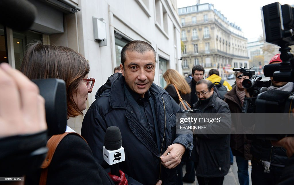 Toulon rugby team president Mourad Boudjellal leaves on November 16, 2012 in Paris, after attending the election of the new head of the French national rugby league (LNR), which oversees the profes...