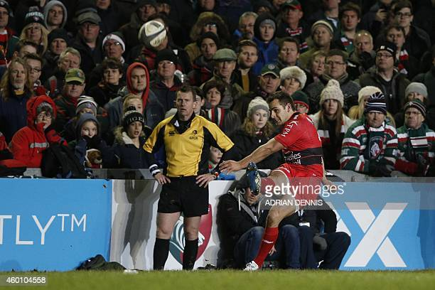 Toulon's Argentinian fly half Nicolas Sanchez kicks a conversion during the European Champions Cup rugby union match between Leicester Tigers and...