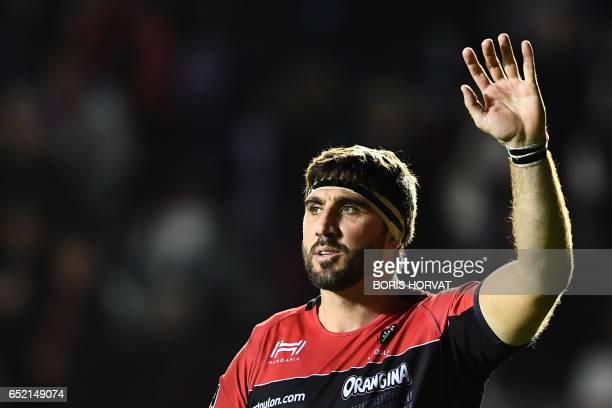 RC Toulon's Argentinian Number Eight Juan Martin Fernandez Lobbe waves to the crowd at the end of the French Top 14 rugby union match between RC...