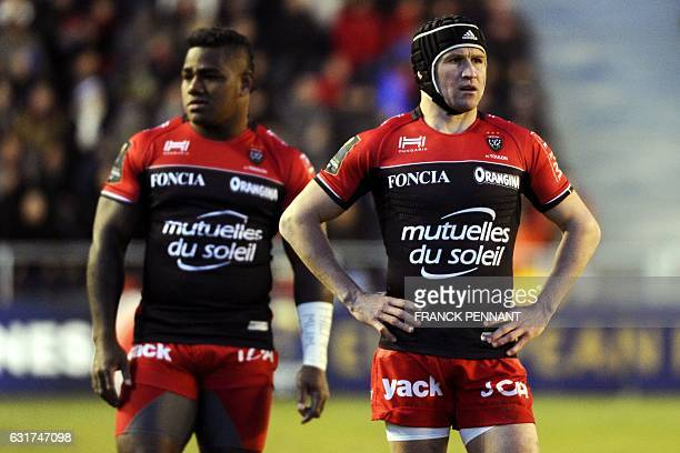 RC Toulon's Australian flyhalf Matt Giteau reacts during the European Rugby Champions Cup match between RC Toulon and Sale Sharks on January 15 2017...