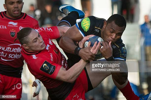 Toulon's Australian fullback James OConnor vies with Bath's Fijian wing Semesa Rokoduguni during the European Champions Cup rugby union match between...