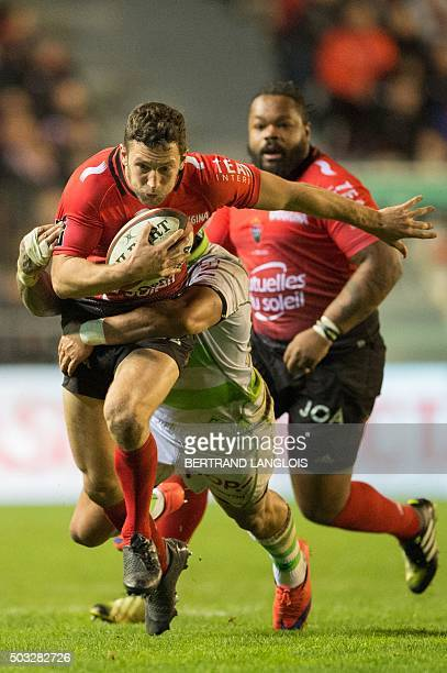 RC Toulon's Australian NZ fullback Tom Taylor controls the ball during the French Top 14 rugby union match RC Toulon versus Pau on January 3 2016 at...
