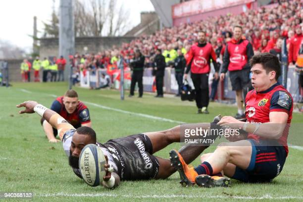 RC Toulon's Fijian wing Semi Radradra cannot ground the ball as he is tackled short of the line during the European Champions Cup quarterfinal rugby...