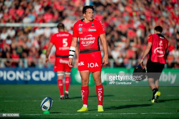 RC Toulon's French flyhalf Francois TrinhDuc concentrates prior to kicking a penalty during the European Champions Cup rugby union match between RC...