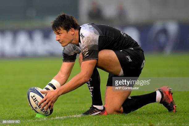 Toulon's French flyhalf Francois TrinhDuc lines up a penalty kick during the European Rugby Champions Cup rugby union match between Benetton Treviso...