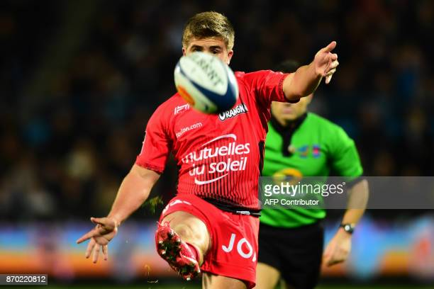 Toulon's French flyhalf Hugo Verdu kicks the ball during the French Top 14 rugby union match between Agen and Toulon on November 4 2017 at the...